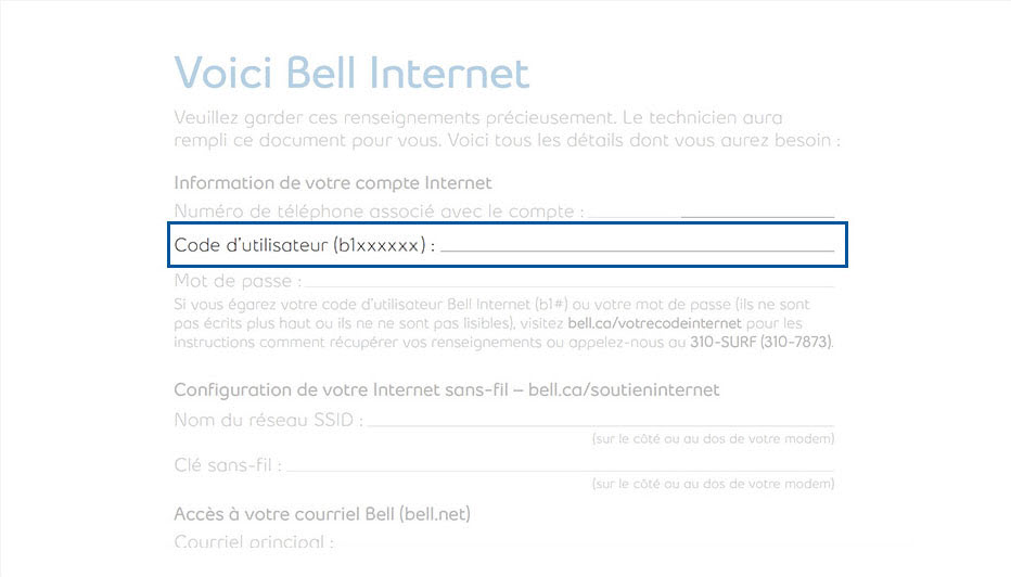 Internet User ID - Bell Internet